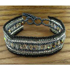 Black white & grey crystal beaded bracelet