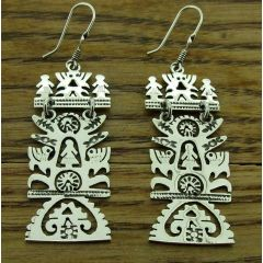 Mexican Rectangular Tree of Life Silver Earrings