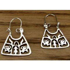 Triangular Tree of Life Silver Earrings