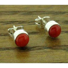Coral 5mm Silver Stud Earrings