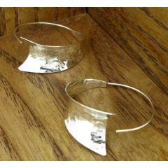 Hammered Curl Hoop Silver Earrings