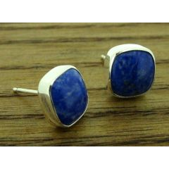 Lapis Lazuli Silver Square Stud Earrings