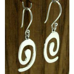 Oval Spiral Silver Earrings