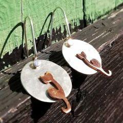 Moon Copper Cat Silver Earrings