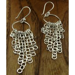Cascading Links Silver Earrings