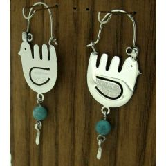 Mexican Bird Silver Earrings with Turquoise