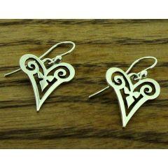 Spiral Heart Silver Earrings