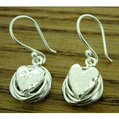 Knotted Heart Silver Earrings