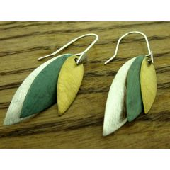 Textured Leaves Silver Earrings