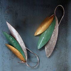 Textured Leaves Silver Earrings