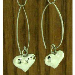 Amorita Heart Silver Earrings