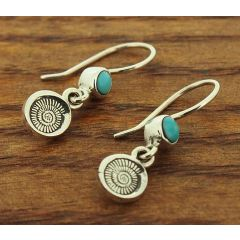 Ammonite Shell with Turquoise Silver Earrings