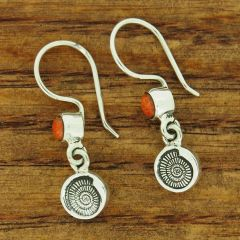 Ammonite Shell with Sponge Coral Silve rEarrings
