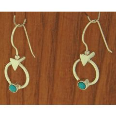 Turquoise Circle Silver Earrings