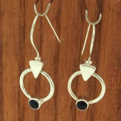 Onyx Circle Silver Earrings