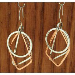 Copper & Silver Geometric Earrings
