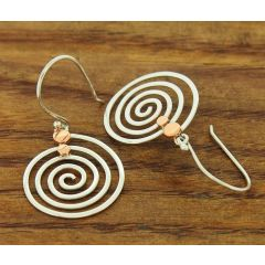 Spirals with Copper & Silver Earrings
