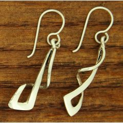 Handmade Silver Twist Drop Earrings
