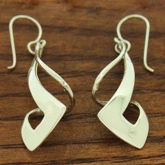 Twisting Strand Silver Earrings (Large)