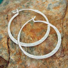 Hammered Flat Hoop Silver Earrings