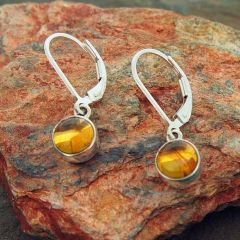 Amber Chunky Circles Silver Earrings