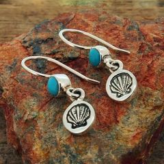Handmade Silver Shell Earrings with Turquoise