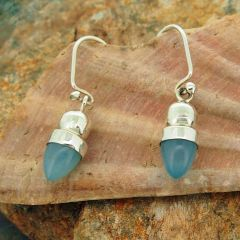 Chalcedony Acorn Silver Earrings