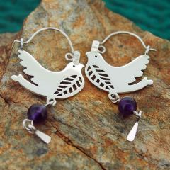 Silver Bird Earrings with Amethyst