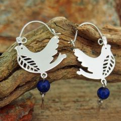 Bird Silver Earrings with Lapis Lazuli