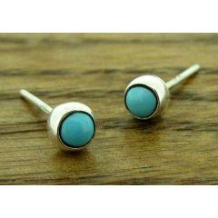 Turquoise 4mm silver stud earrings