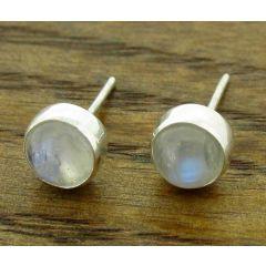 Moonstone 6mm Silver Stud Earrings