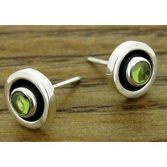Framed Period Silver Stud Earrings