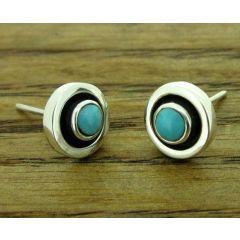 Framed Turquoise Silver Stud Earrings
