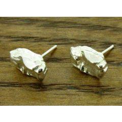 Chicklet Silver Stud Earrings