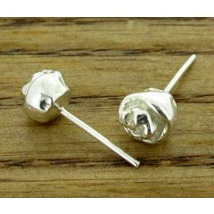 Rosebud silver stud earrings