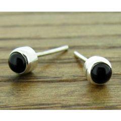 Black Onyx 4mm Silver Stud Earrings