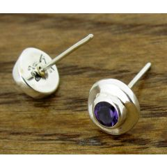 Angled Amethyst Silver Stud Earrings