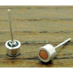 Copper Circles Silver Stud Earrings