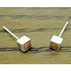 Copper Squares Silver Stud Earrings