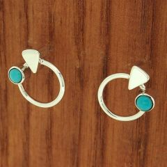 Handmade Silver Stud Turquoise Earrings
