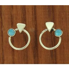 Blue Topaz Circle Silver Stud Earrings