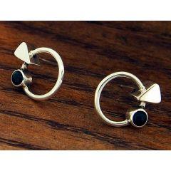 Onyx Circle Silver Stud Earrings