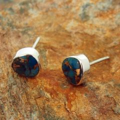 Turquoise with Bronze Triangular Silver Stud Earrings