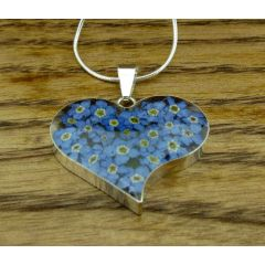 Heart Forget-me-not Silver Flower Pendant