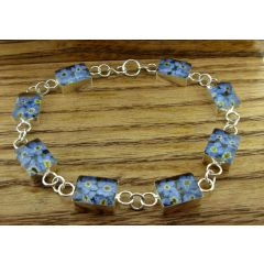 Rectangle Forget-me-not Silver Flower Braclet