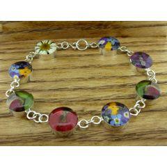Circle Silver Flower Bracelet