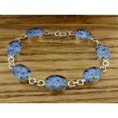 Oval Forget-me-not Silver Flower Bracelet
