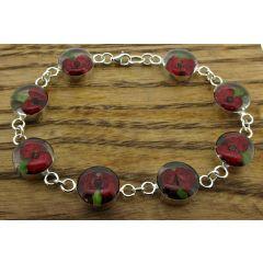 Circle Poppy Silver Flower Bracelet