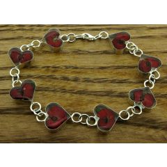 Heart Poppy Silver Flower Bracelet