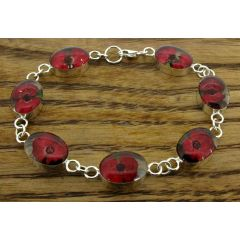 Oval Poppy Silver Flower Bracelet